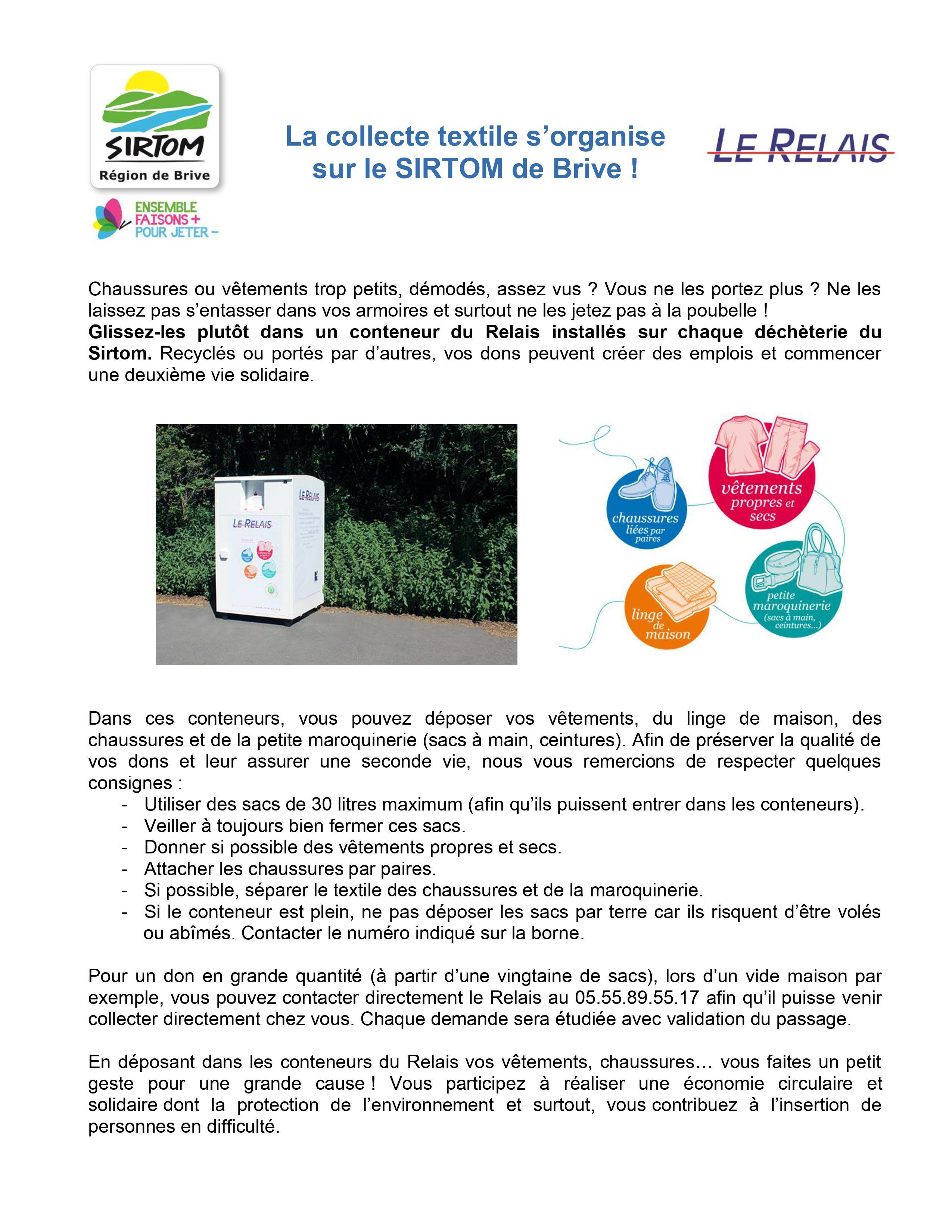 La collecte des textiles s'organise avec le SIRTOM de Brive